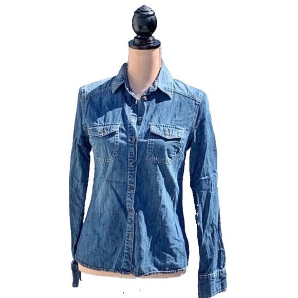 ☀️4/25 Merona Medium Indigo Denim Button-Up Shirt
